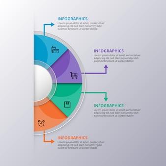 Éléments de modèle infographique brillant de vecteur avec des formes colorées