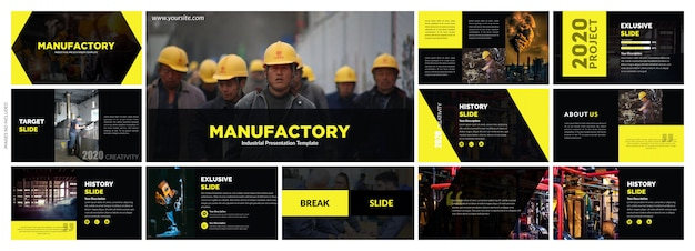 Éléments de modèles de présentation créative noir jaune