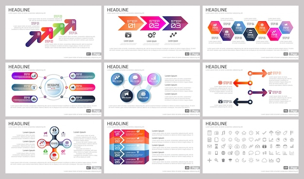 Éléments modernes de l'infographie pour les modèles de présentations