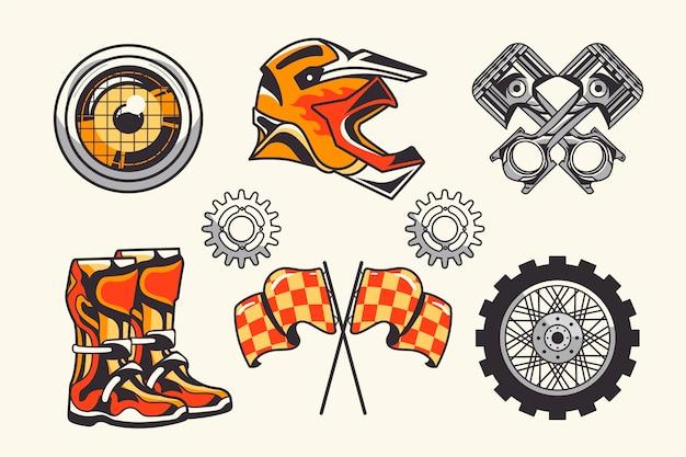 Éléments de motocross rétro