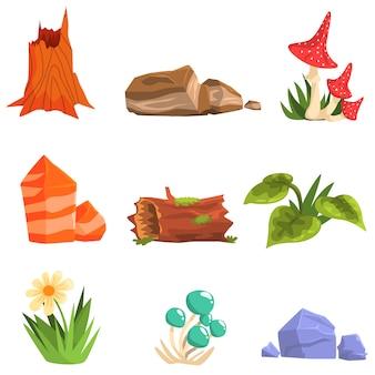 Éléments naturels du paysage forestier, plantes et champignons