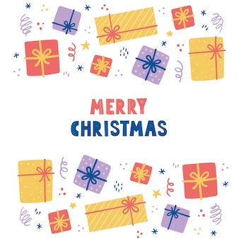 Éléments de noël avec boîte-cadeau, paquet. illustration de style dessiné à la main. vacances d'hiver, noël, décoration du nouvel an.