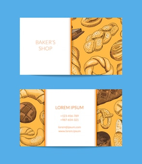 Éléments de nourriture de boulangerie colorés dessinés à la main