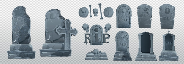 Éléments et objets d'halloween pour les projets de conception. pierres tombales pour halloween. rip antique. tombe sur fond blanc