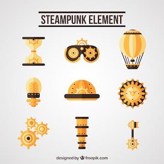 Éléments d'or dans le style steampunk