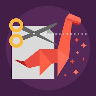 Éléments origami, sur fond violet