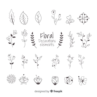 Éléments d'ornement floral dessinés à la main