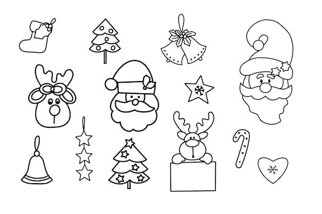 Éléments d'ornement de noël griffonnages dessinés à la main pour carte de voeux décorative, bannière