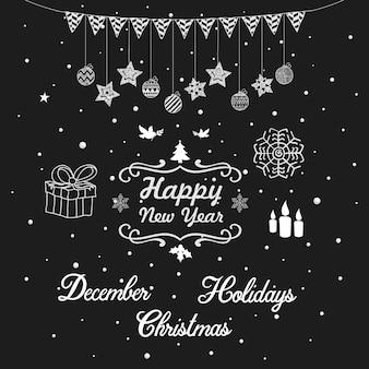 Éléments d'ornements joyeux noël et nouvel an