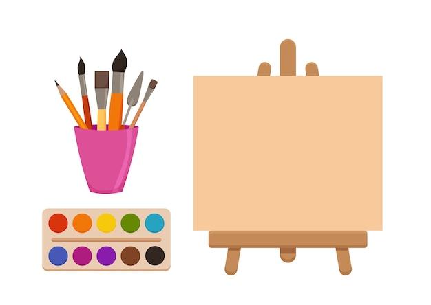 Éléments d'outils de peinture dessin animé ensemble coloré. fournitures d'art: chevalet avec toile, tubes de peinture, pinceaux, crayon, aquarelle, palette. dessiner des matériaux créatifs pour la conception des ateliers