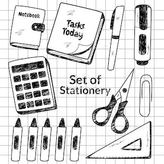 Éléments de papeterie dessinés à la main doodle