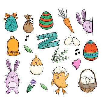 Éléments de pâques doodle mignon avec poussins de lapin et oeuf