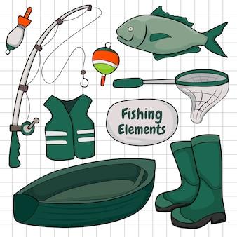 Éléments de pêche dessinés à la main doodle coloriage