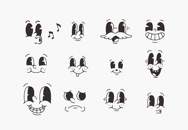 Éléments de personnage de mascotte de dessin animé ancien.