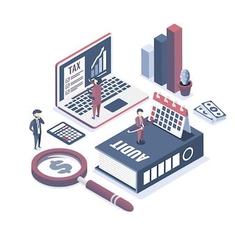 Éléments et personnages d'audit d'entreprise