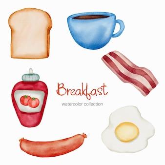 Éléments de petit-déjeuner aquarelle