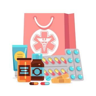 Éléments de pharmacie, pilules, vitamines, bouteilles avec illustration de sac médical