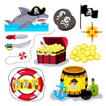 Éléments de pirate drôles isolés