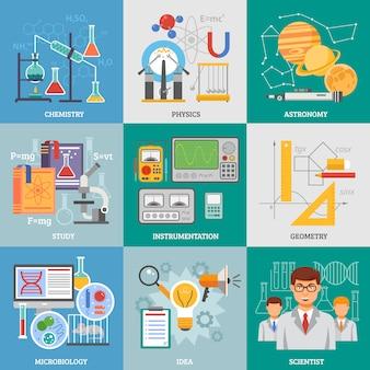 Éléments plats de recherche scientifique carré
