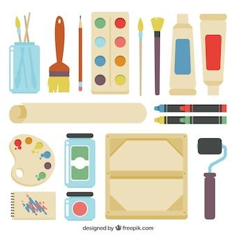 Les éléments plats de studio d'art