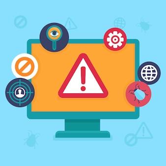 Éléments plats vector - sécurité internet et virus