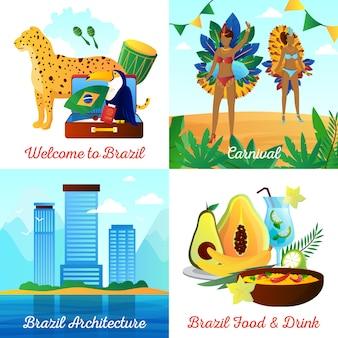 Éléments plats de voyages culturels au brésil et composition carrée de personnages avec des boissons alimentaires points de repère et symboles nationaux isolés illustration vectorielle