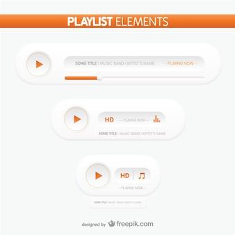 Éléments playlist boutons