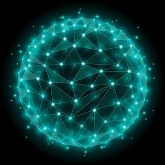 Éléments polygonaux de maille filaire de sphère abstraite. réseau dot et web, structure sphérique.