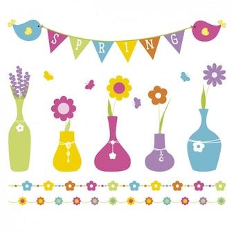 Éléments et des pots de fleurs de printemps mignon