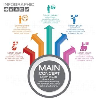 Éléments pour infographie. modèle de diagramme, graphique, présentation et graphique. concept d'entreprise avec 5 options, pièces, étapes ou processus.