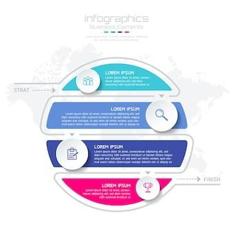 Éléments pour infographie. présentation et graphique. étapes ou processus. nombre d'options conception de modèle de flux de travail. 4 étapes.