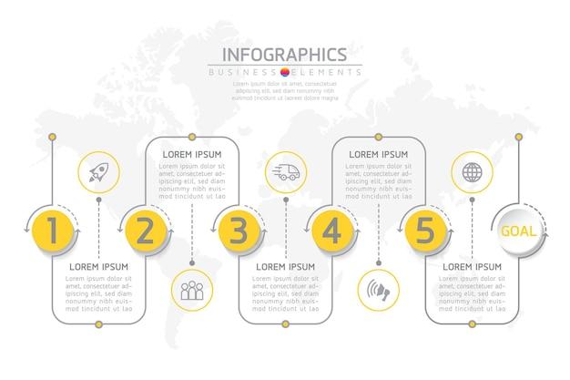 Éléments pour infographie. présentation et graphique. étapes ou processus. nombre d'options conception de modèle de flux de travail. 5 étapes.