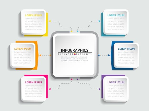 Éléments pour la présentation de l'infographie et les étapes du graphique ou les options de processus nombre étapes du modèle de flux de travail