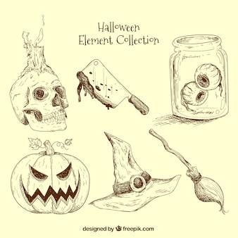 Éléments prêts pour halloween main-dessinée