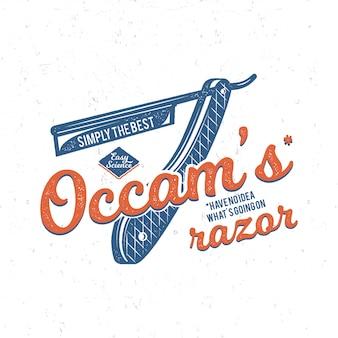 Éléments de principe et de typographie du rasoir vintage occam. thème de fond de la science. style de couleurs rétro.