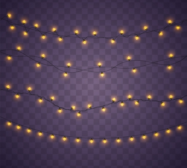 Éléments réalistes isolés de lumières de noël jaunes.