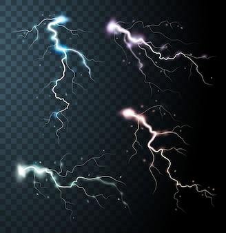 Éléments réalistes d'orage avec des éclairs colorés d'étincelles de foudre