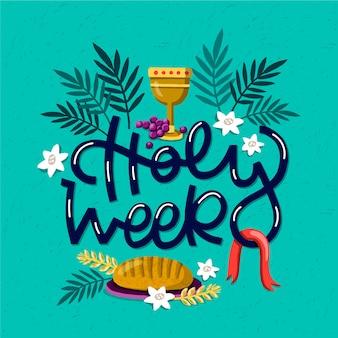 Éléments religieux de la semaine sainte dessinés à la main