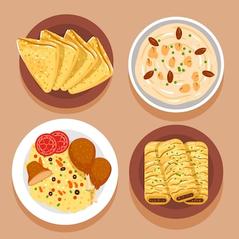 Éléments de repas iftar dessinés à la main