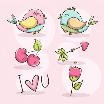 Éléments romantiques avec oiseaux