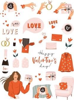 Éléments romantiques de la saint-valentin.