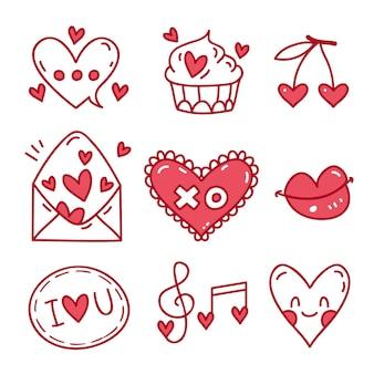 Éléments de la saint-valentin doodle