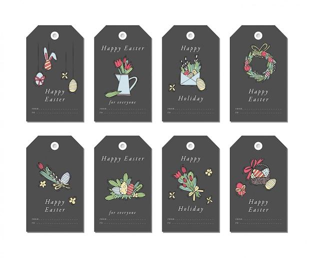 Éléments de salutations de joyeuses pâques linéaires sur fond blanc. étiquettes de vacances de printemps avec typographie et icône colorée.