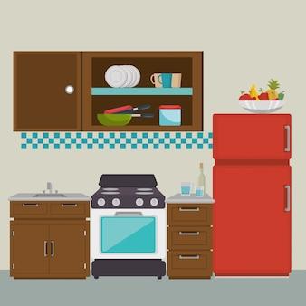 Éléments de scène de cuisine moderne