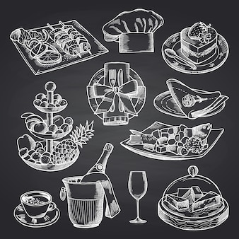 Éléments de service de restaurant ou de salle dessinés à la main sur un tableau noir.