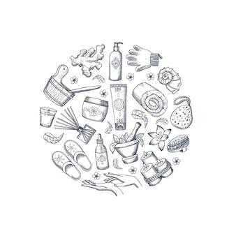 Éléments de spa dessinés à la main de vecteur en forme de cercle