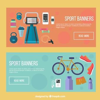 Éléments sportifs flat banners set