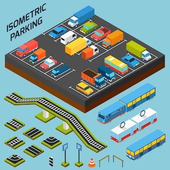éléments de stationnement isométriques