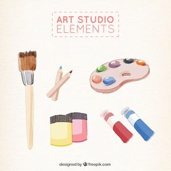 Éléments de studio d'art peintes à l'aquarelle