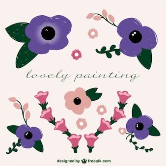 Des éléments de style libre de peinture de fleurs